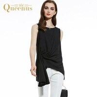 Queenus Kadın Üst 2017 Moda Gömlek Iş Asimetrik Gömlek Elegant Lady Siyah Draped Pileli Kadınlar Bluzlar Ücretsiz Kargo