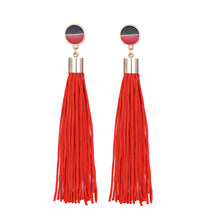 Modern Style Long Tassel Earring Charm Fringe Za Jewelry Punk Color Round Fashion Drop Dangle Earrings For Women Wholesale(China)