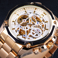 Gold Watches Men Automatic Mechanical Skeleton Watch Men Steel Wristwatch Male Clock Relogio Masculino