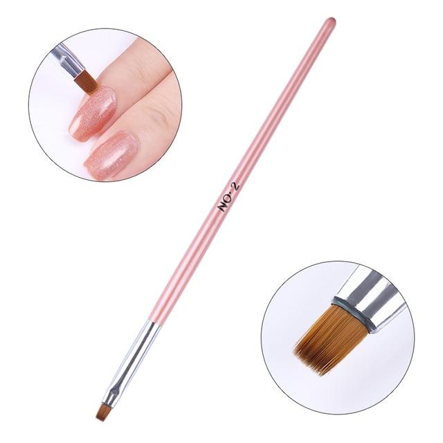 1Pc UV Gel Brush Acrylic Painting Drawing Pen Brush Powder Dust Clean Pen Gradient Extension Brush  Nail Art Tool DIY