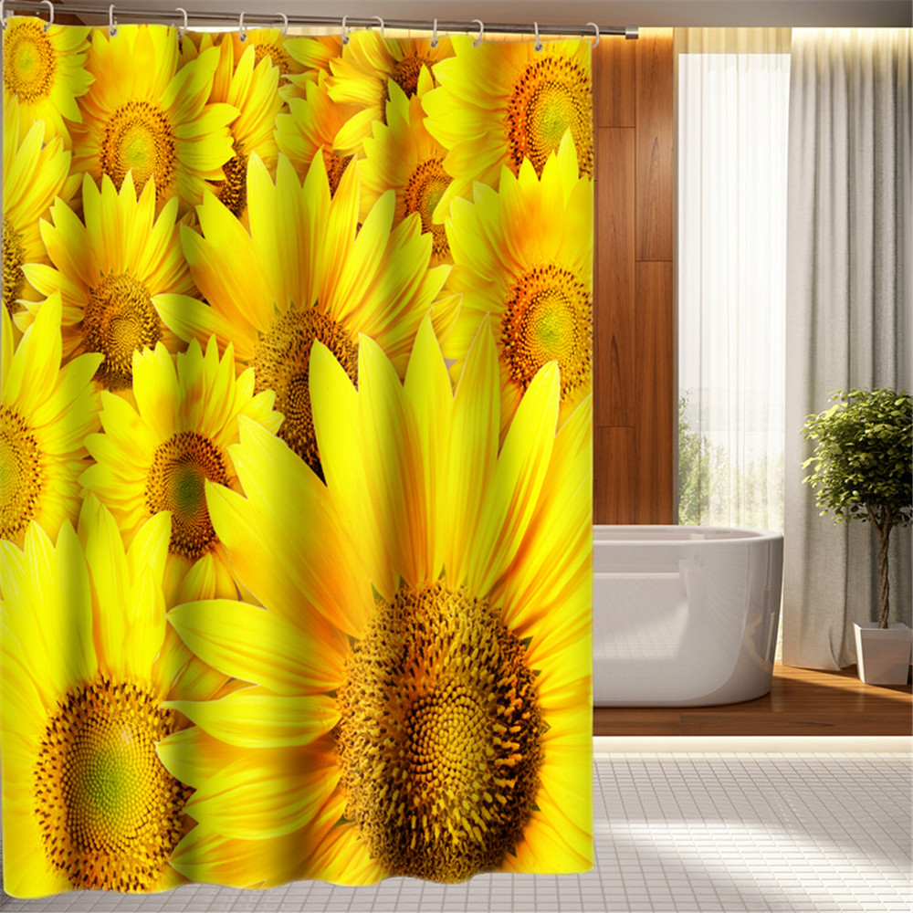 3D Oil Gold Sunflower Butterfly Print Bathroom Shower Curtain Waterproof Yellow Curtains W180XH200 W180XH180 In From Home
