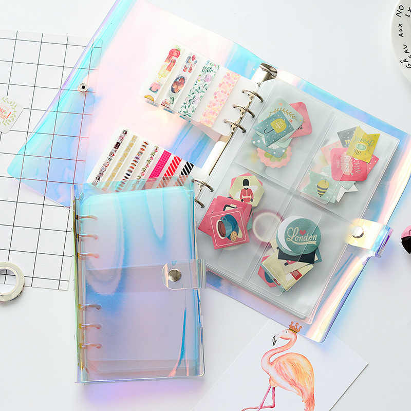 A5 A6 Laser Transparent Color PVC Inner Sheets Pockets Album Holder for Photo Album Scrapbook Props Stickers Storage Pockets