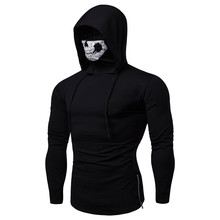 2019 Drawstring Creative Scare Mask Hoodies For Man High Quality Long Sleeve Fitness Zipper Skull Sweatshirt Tops Black