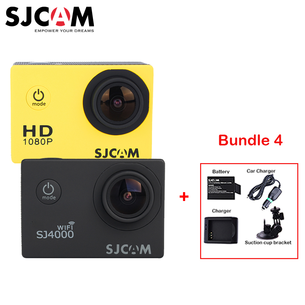 Original SJCAM SJ 4000 SJ4000 WIFI 1080P HD 30M Waterproof Sports Action Camera +Extra Battery+Charger+Car Charger+Suction Cup original sjcam car charger microphone remote watch monopod motorcycle waterproof case dual charger for sj sj7 star action camera