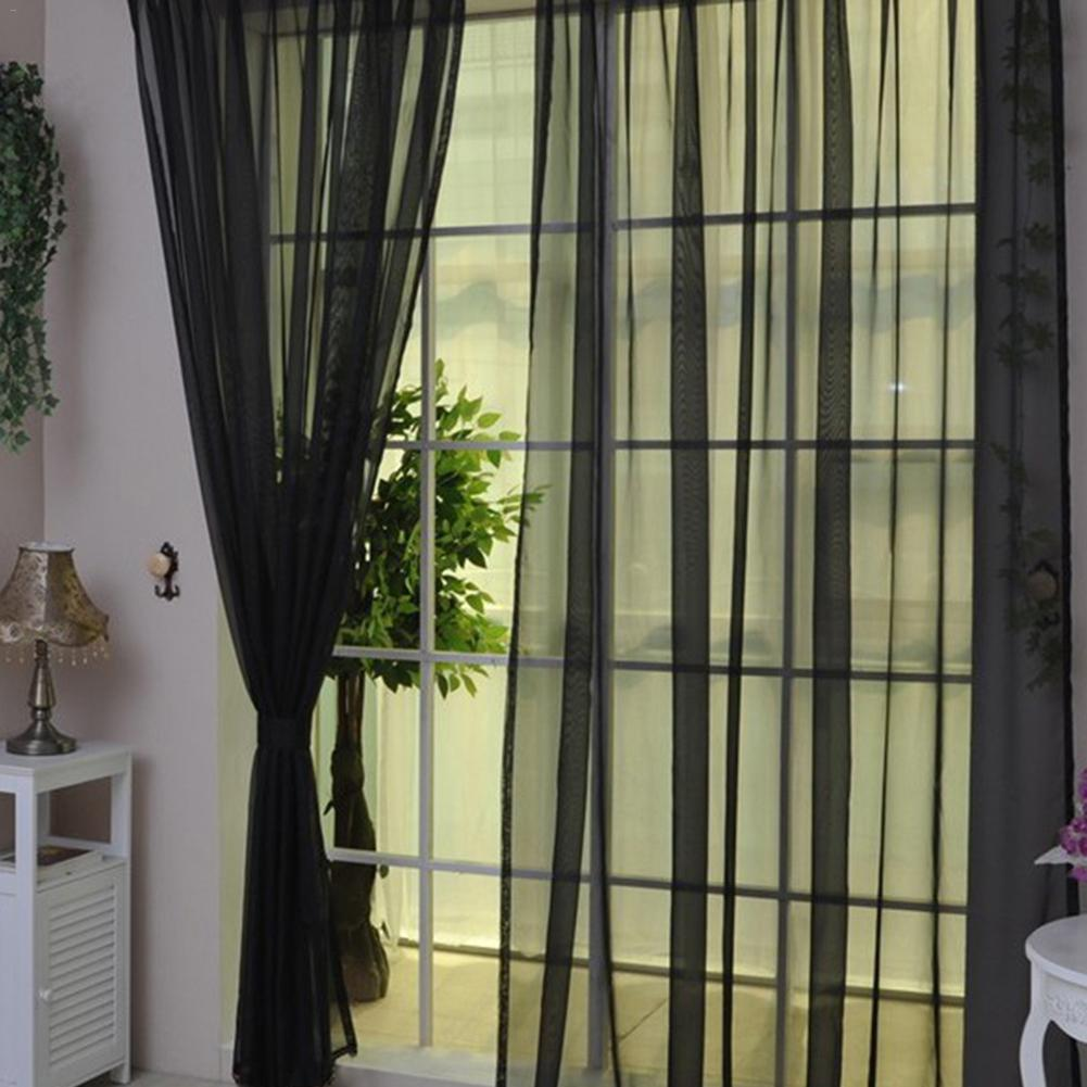 Image 4 - Colors Tulle Translucent Curtain Door Window Curtain Washable Drape Panel Sheer Scarf Valances Home Decoration Curtains-in Curtains from Home & Garden