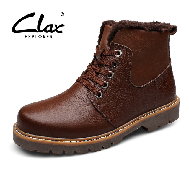 Clax Winter Men Boots Warm Genuine Leather Boots With Fur For Male Motorcycle Boots Men's Leather Shoe Retro Plus Size