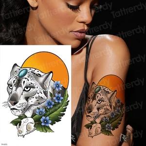 Tatuaje temporal Tigre Pantera Negra tatuaje Luna bocetos tatuaje diseños temporales tatuajes en el cuerpo pegatina animales