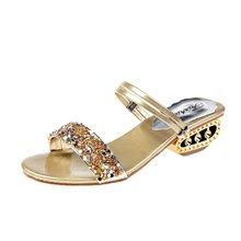 купить Women Sandals Bling Crystal Summer Shoes Woman Beach Flat Sandals Plus Size Flip Flop Ladies Soft Bottom Slippers Female 41 по цене 1037.46 рублей