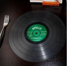 2 Teile/satz Vintage Rekord Tischset Silikon schwarz Dining Platzdeckchen Schwarz Runde Pads Küche klassische CD