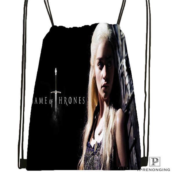 Custom Game Of Thrones Drawstring Backpack Bag Cute Daypack Kids Satchel (Black Back) 31x40cm#180611-01-29