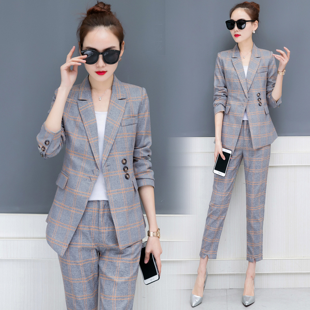 b797eba310 korean fashion suit office lady grid 2018 spring new women s leisure two-piece  clothing set business blazer top pants plaid