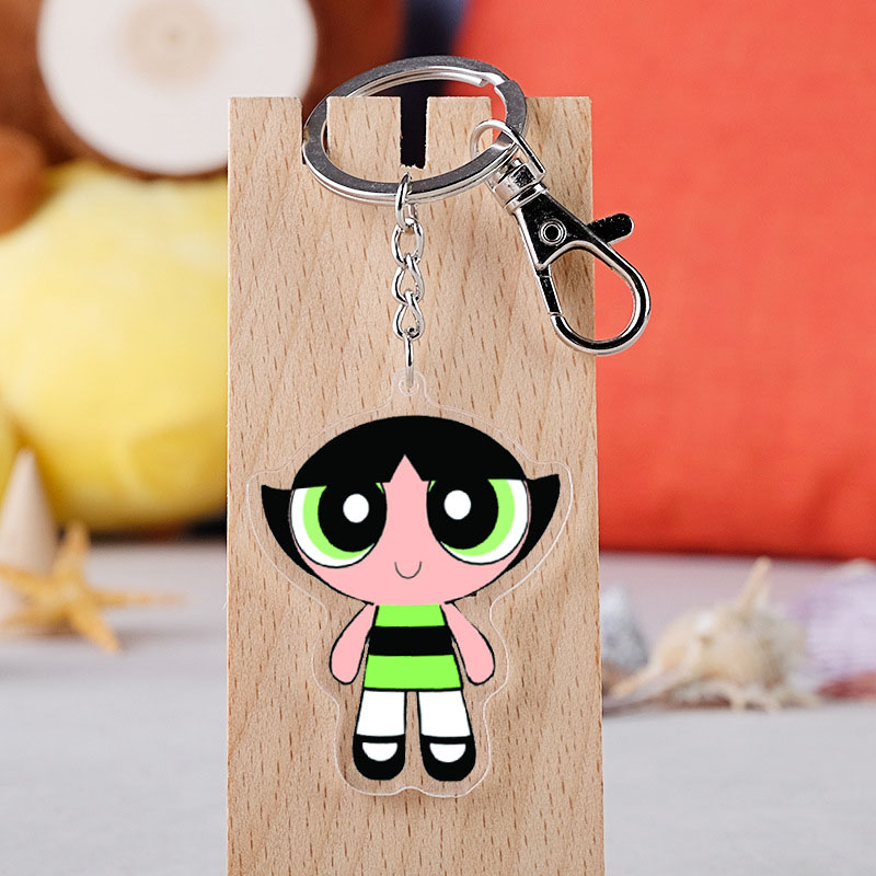 Powerpuff Girls Keychain Flower Bubbles Hairy Acrylic Pendant Keyring