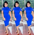 Nova moda elegante 2016 mulheres summer dress sólido azul midi dress sexy bodycon bandage dress 5280
