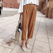 2019 MISHOW Autumn new women Office style pants fashion causal high waist streetwear loose Khaki Nineths pants MX18C2534(China)