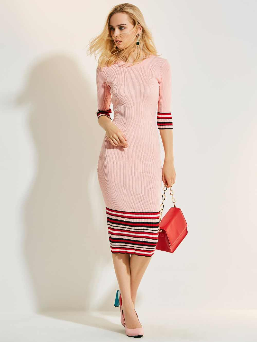 2018 Autumn Midi Dress Pink Long Sleeve O-Neck Mid-Calf Dress Elegant dress f8964f697