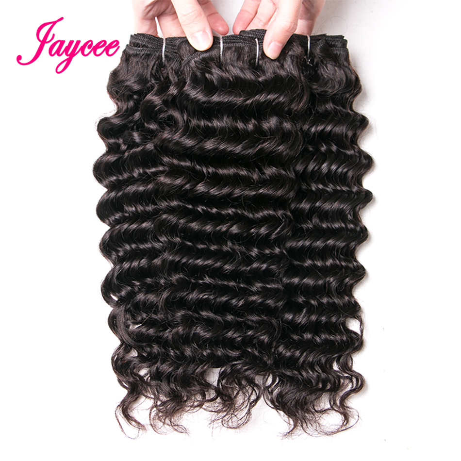 Jaycee Hair Products Malaysian Deep Wave 3 Bundles 8-24 Inches Non Remy Human Hair Extensions Natural Color