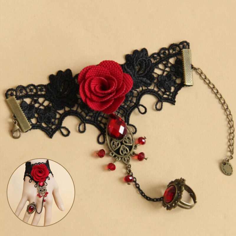 Элегантный готический стиль Кружева Красная Роза ювелирные браслеты для невесты, свадебные бусины ювелирные изделия