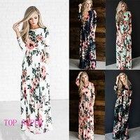 Summer Women Floral Print Wrist Sleeve Empire Waist Boho Dresses Femme Vestidos Ladies Evening Party Long