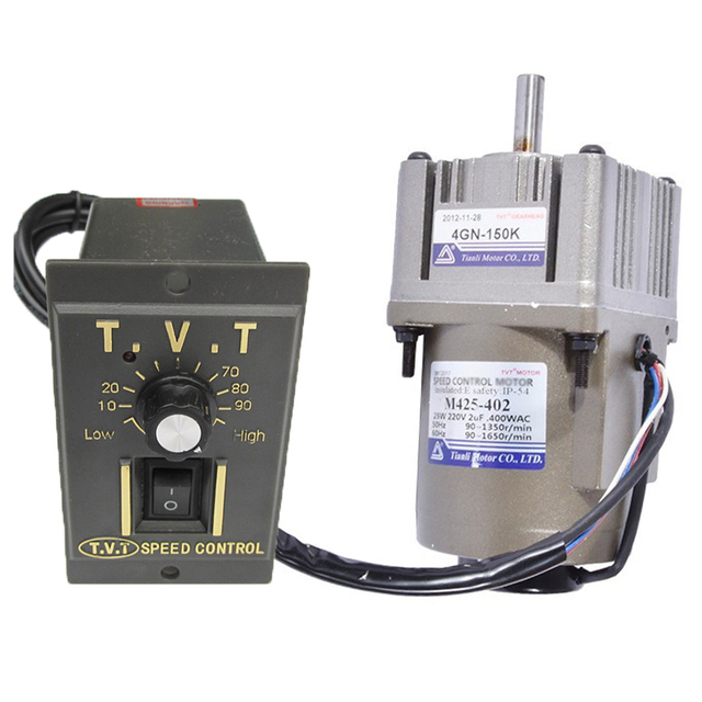 25W 220V AC Gear Motor 03A Electric Motor Variable Speed Controller