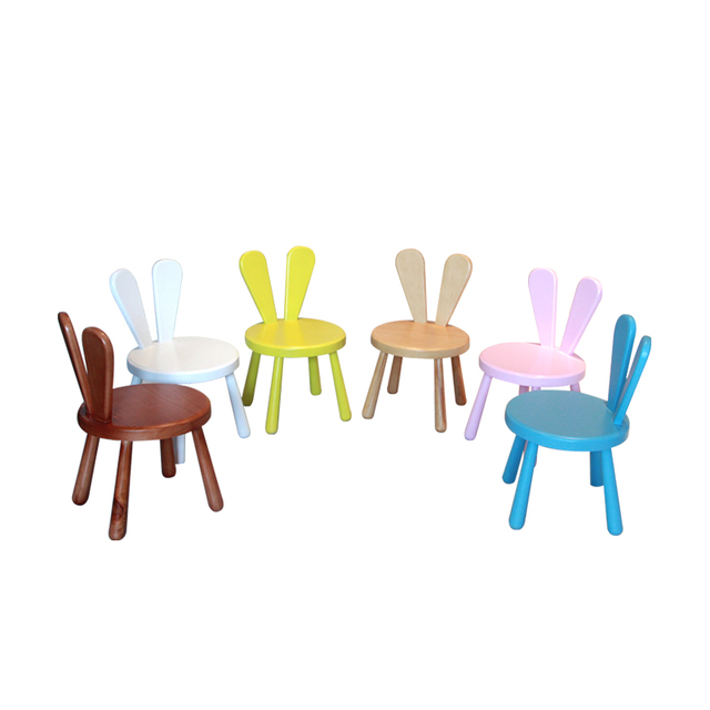 small wooden chair burlap bows for wedding chairs colorful wood kids children furniture kindergarten child study eating desk kawaii seat