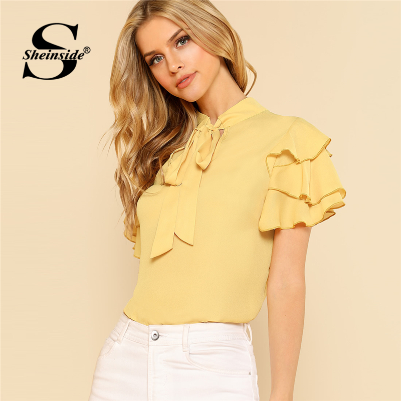 Sheinside Tie Neck Layered Flounce Sleeve Top 2018 Summer Short Sleeve Stand Collar Blouse Women Yellow Ruffle Elegant Top