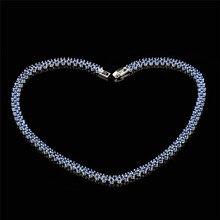 Azul Zafiro encanto Collares para Las Mujeres Moda Joyería de La Boda de Oro Blanco Lleno de Circón de Cristal Collar De Compromiso NL0041