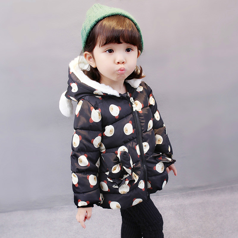 Kids Winter Jacket Hooded For Toddler Baby Girls Infant Jackets For Girls Winter Coat Cotton Padded Parka Cartoon Outerwear