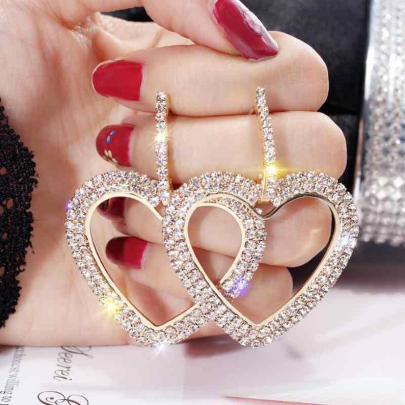 Korea Gadis Jantung-Berbentuk Asimetris Anting-Anting Sederhana Liar Berlian Imitasi Mutiara Rantai Anting-Anting Perhiasan Oorbellen Panjang Anting-Anting Brincos