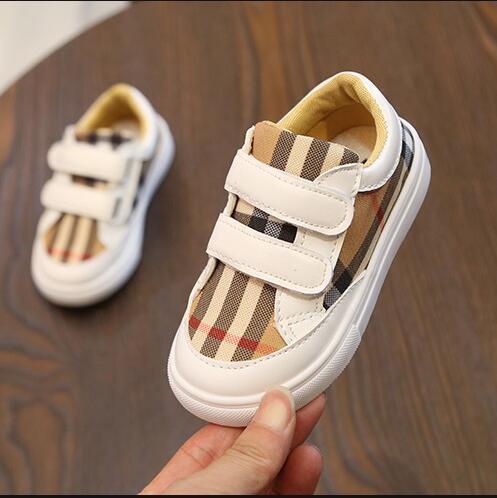 2019 Spring Autumn new plaid vogue kids white shoes boys girls casual shoes children's sneaker SIZE 13.5CM--18CM