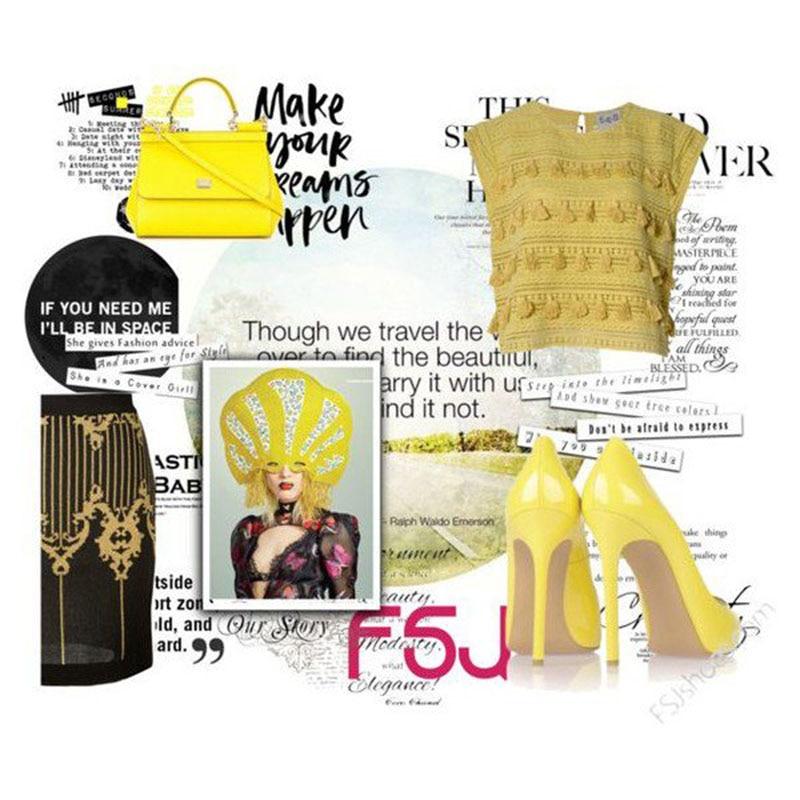 Charol Tacones Verano Tacón Dulce Amarillo Noche De Stiletto Vestido Mujer Fsj Zapatos Fsj01 Alto Peep Toe 11 Fiesta Primavera Tamaño Bombas v7dvq