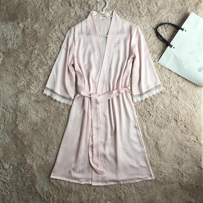 Pink Sleepwear Wedding Bride Bridesmaid Nightwear Sexy Lace Intimate Lingerie Kimono Bath Gown Summer New Women Robe M-XXL