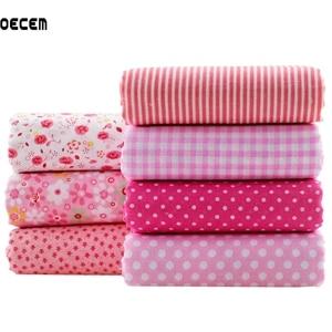 Cotton Quilting Fabric Pink Floral Series Tildas Tissus Patchwork Fabrics Fat Quarter Bundles Tecido For Kids Cloth 7PCS 50X50CM