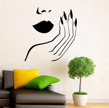Manicure Wall Decal Vinyl Stickers Girl Hands Nails Interior Home Design Art Murals Spa Beauty Salon Decor Vinilos Paredes A766(China)