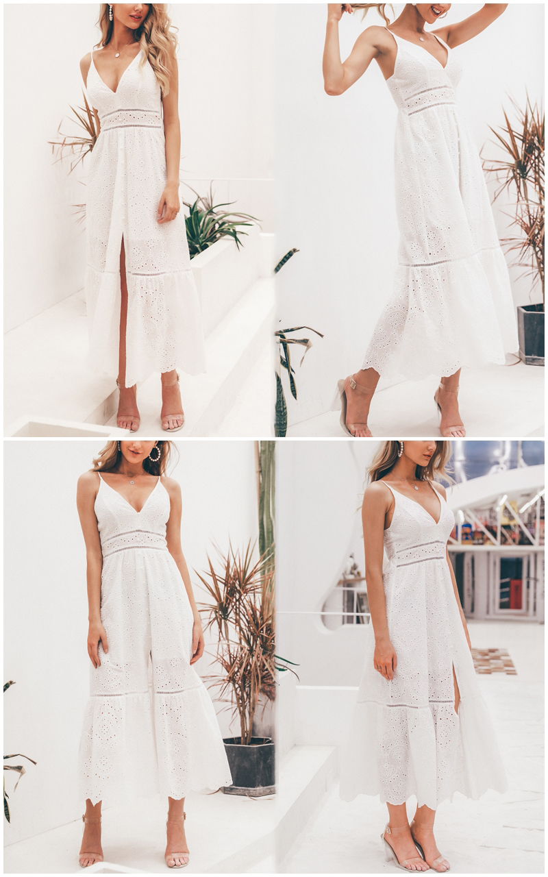 BerryGo White pearls sexy women summer dress 19 Hollow out embroidery maxi cotton dresses Evening party long ladies vestidos 2