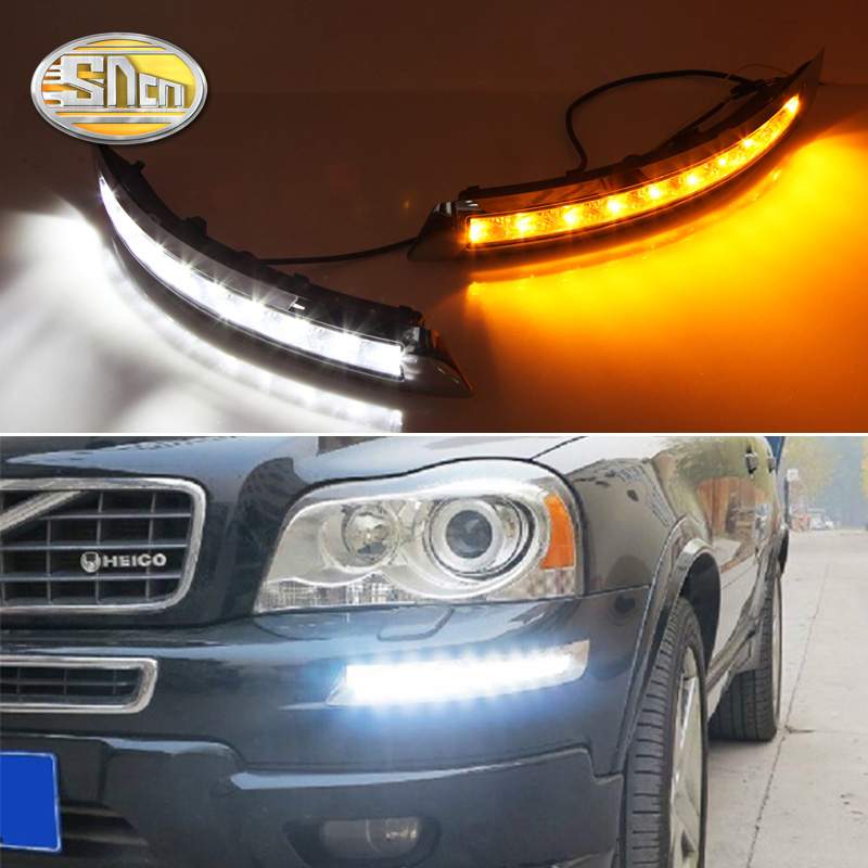 цена на For Volvo XC90 2007 - 2012 2013,Turn Yellow Signal Relay Waterproof ABS Car LED DRL 12V LED Daytime Running Light Daylight SNCN