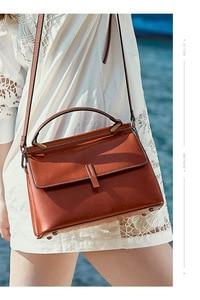 Image 2 - Zency 100% Genuine Leather Retro Brown Women Tote Bag Small Flap Daily Casual Shoulder Messenger Bags Black Grey Handbag