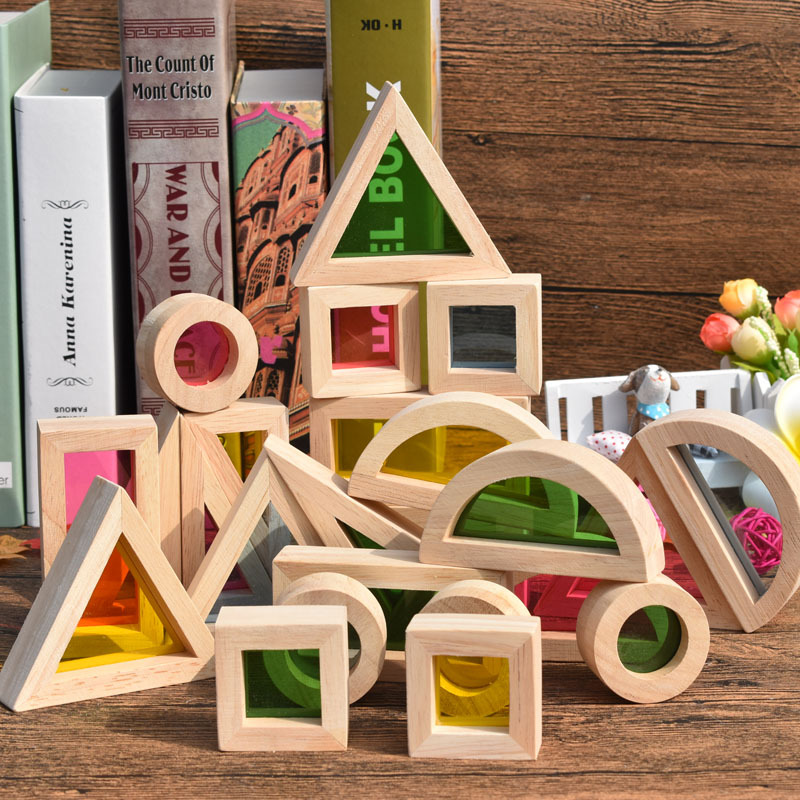 Baby Toys 24Pcs Geometric Assembling Acrylic Blocks Super Popular Creative Rainbow Building Blocks Wooden Educational Toys Gift baby toys montessori wooden geometric sorting board blocks kids educational toys building blocks child gift