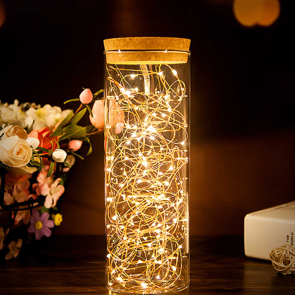 Battery LED String Lights Chain 10M 5M 4M 2M Copper Wire Bottle Light Fairy Lights Christmas Garland Wedding Party Decoration