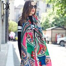 Nowy zimowy szalik dla kobiet luksusowej marki Pashmina kaszmirowe ponczo koc szalik Wrap szalik wełniany kobiety chustka muzułmański hidżab szal