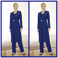 Custom Made Three Pieces Royal Blue Chiffon Beaded Elegant Mother of the Bride Pant Suit With Long Sleeve Jacket Janique Dresses
