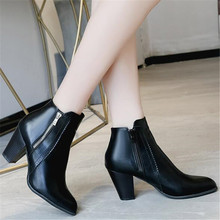 Spring Autumn Women Chelsea Boots Short Plush Square Heels Ankle Boots Round Toe Zippers Ladies Shoes Size 35-43 black brown цены онлайн