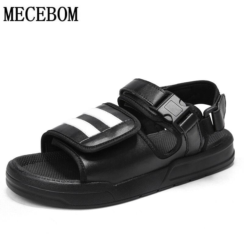 Summer Blcak White Mens sandals PU comfortable casual shoe men beach sandals zapatillas hombre size 39-44 585m