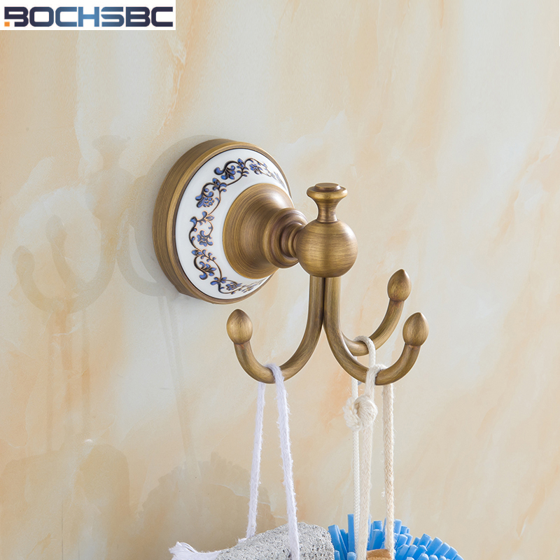 Retro triple hooks bathroom accessories european vintage ceramic base robe hook antique clothes for Ceramic towel hooks for bathrooms