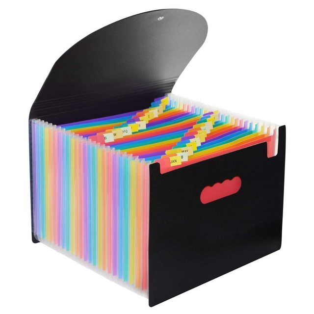 24 Pocket Extended File Folder With Lid, Qefuna A4 Letter Size Expandable File Storage Box Can Carry Rainbow Document Bag