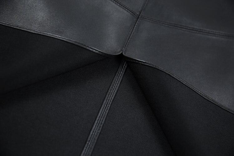 a5f806cf0 2018 Winter Simple High Waist Open Split Cross Genuine Leather ...