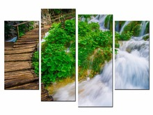 4 Piece Modern Waterfall Painting Canvas Wall Art Picture Home Decoration Living Room Print JO13-05