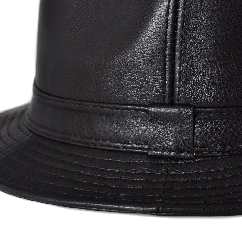 4c199aa70eb87 RY0502 Fall Winter Man High Quality Cow Genuine Leather Jazz Fedora  Gentleman Korean Version Short Brim Black Hip Pop Fitted Hat-in Fedoras  from Apparel ...