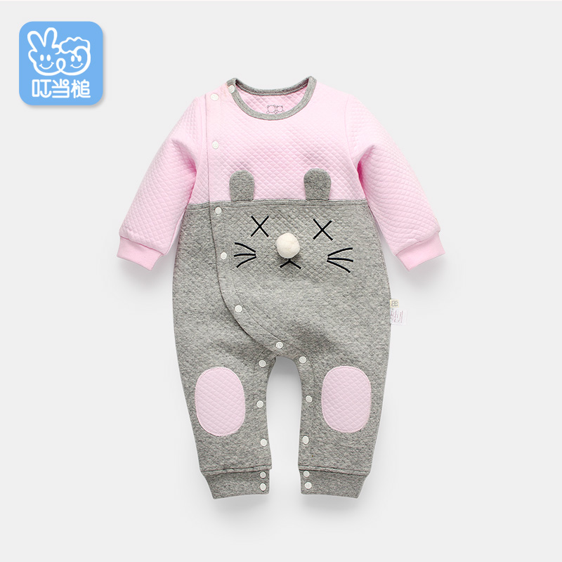 d8bed8e9c27c 8. Dinstry baby onesies spring and autumn female baby autumn lapel ...