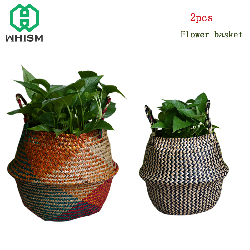 WHISM 2PCS Seagrass Basket Folding Belly Storage Baskets Rattan Makeup Organizer Wicker Basket Laundry Baskets zeegras mand