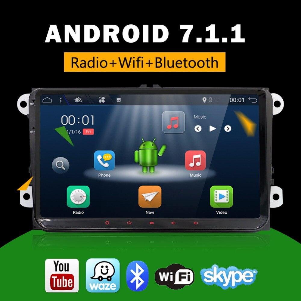 2 Din 9 pouces Quad core Android 7.1 vw voiture dvd pour Polo Jetta Tiguan passat b6 cc fabia miroir lien wifi Radio CD au tableau de bord